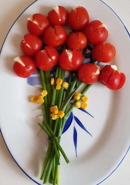 bouquet de tulipes tomate mozarella apéro facile